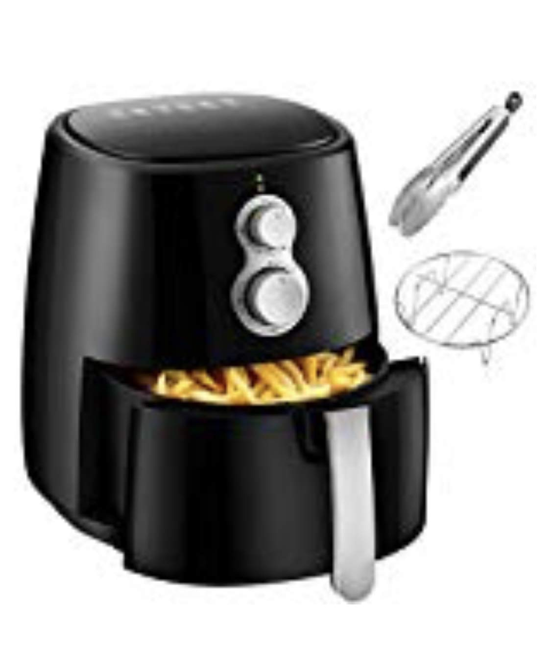 Air Fryer, 4.2QT Air Fryers w/Accessories Cookbook, Grill Rack and Tongs Black