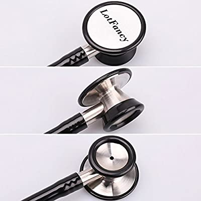 Classic Dual Head Cardiology Stethoscope with Hard Case for Medical and Clinical Use, Stainless Steel Chestpiece, Suitable for Nurse Men Women Pediatric Infant, Black Tube, 27 Inches