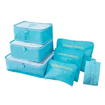 Organizador de equipaje de viaje, 7 piezas impermeables Cubos de lavandería Bolsas de compresión Bolsas Maleta Organizador de artículos de aseo para ...