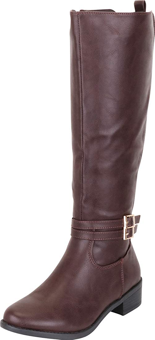 Brown Pu Cambridge Select Women's Strappy Buckle Low Heel Knee-High Riding Boot