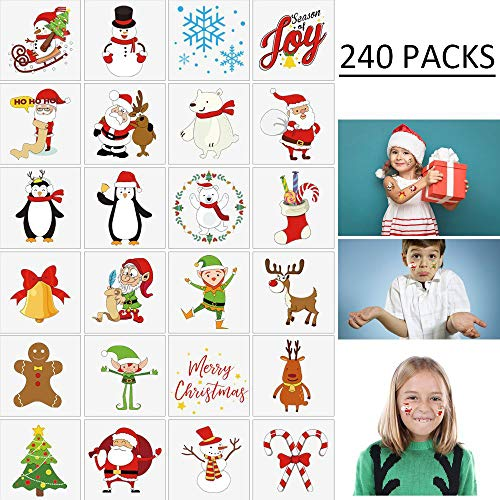 Moon Boat 240PCS Assorted Christmas Temporary Tattoos Stocking Stuffers - Xmas Kids Goodie/Gift Bags Favors -