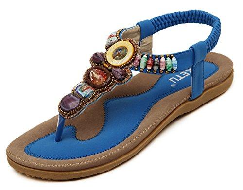 Aisun Damen Perlen Faltbare Gummisohle Flats Übergröße Zehentrenner Blau