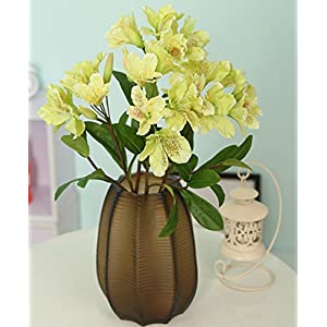 Skyseen 3PCS Artificial Flowers Azalea Blossoms Fake Rhododendron for Home Decor,Green 6