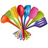 TTLIFE Rainbow Colored Dish Set /Silicone Spatula Utensil Kitchen Colorful 8 Pieces With Turner, Slotted spoon, Ladle, Spoon, Spoon Spatula, Spooula, Spatula, Basting brush