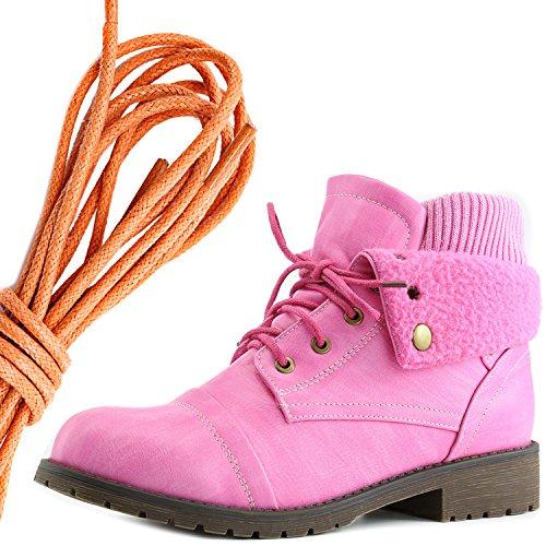 Dailyshoes Womens Bekämpa Stil Spets Upp Tröjan Topp Fotled Toffeln Med Ficka För Kreditkort Kniv Pengar Plånbok Ficka Stövlar, Orange Rosa Pu