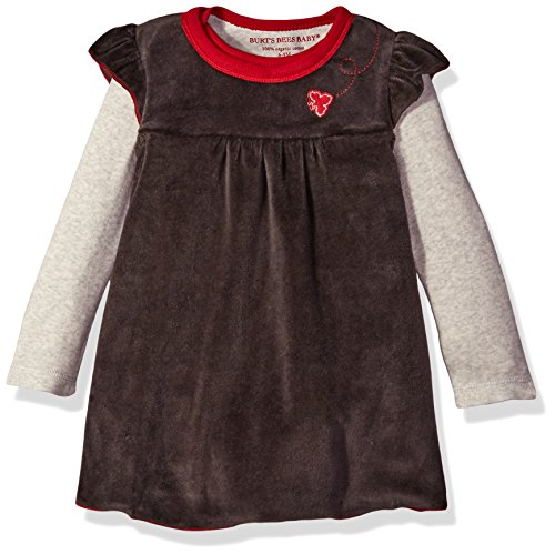 Burt's Bees Baby Baby Girls' Dress, Infant & Toddler, Short & Long-Sleeve, 100% Organic Cotton, Ash Velour, 3-6 Months