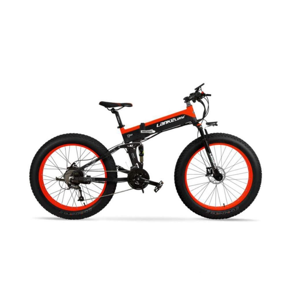 CAKG Elektrisches Fahrrad Gebirgsbreiter Reifen 26 Geschwindigkeits-Mountainbike 27 unterstützt das Falten von elektrischem Alles Schnee Zoll Fahrrad 80-100 km,Grün-48V10ah Orange 48V10ah