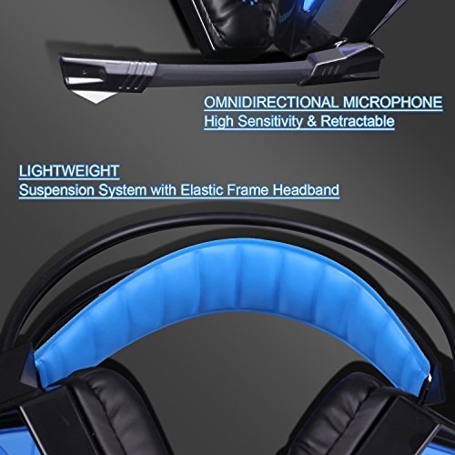 SADES SA-710 Black 7.1 Surround Sound USB PC Gaming Headsets Headphones With Audio Noise Cancelling LED Light For PC and PS4 (Black and Blue)
