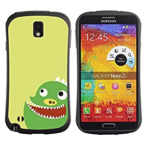 "Hypernova Slim Fit Dual Barniz Protector Caso Case Funda Para Samsung Note 3 [Divertido monstruo verde lindo""]"