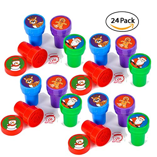 24 Christmas Assorted Bright Colored Plastic Stamps - Self Ink Christmas Stampers - Fun Gift, Party Favors, Party Toys, Goody Bag - Favors Christmas Party