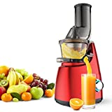 Elechomes CJ201 Slow Masticating Juicer Extractor with Wide Chute (200W AC Motor, 45 RPMs, 3'' Big Mouth) Anti-Oxidation Lower Noisy - Vertical Masticating Cold Press Juicer