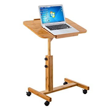 DH® Mesita De Noche, Mesa para Laptop, Mesa Auxiliar para Sofá De Bambú