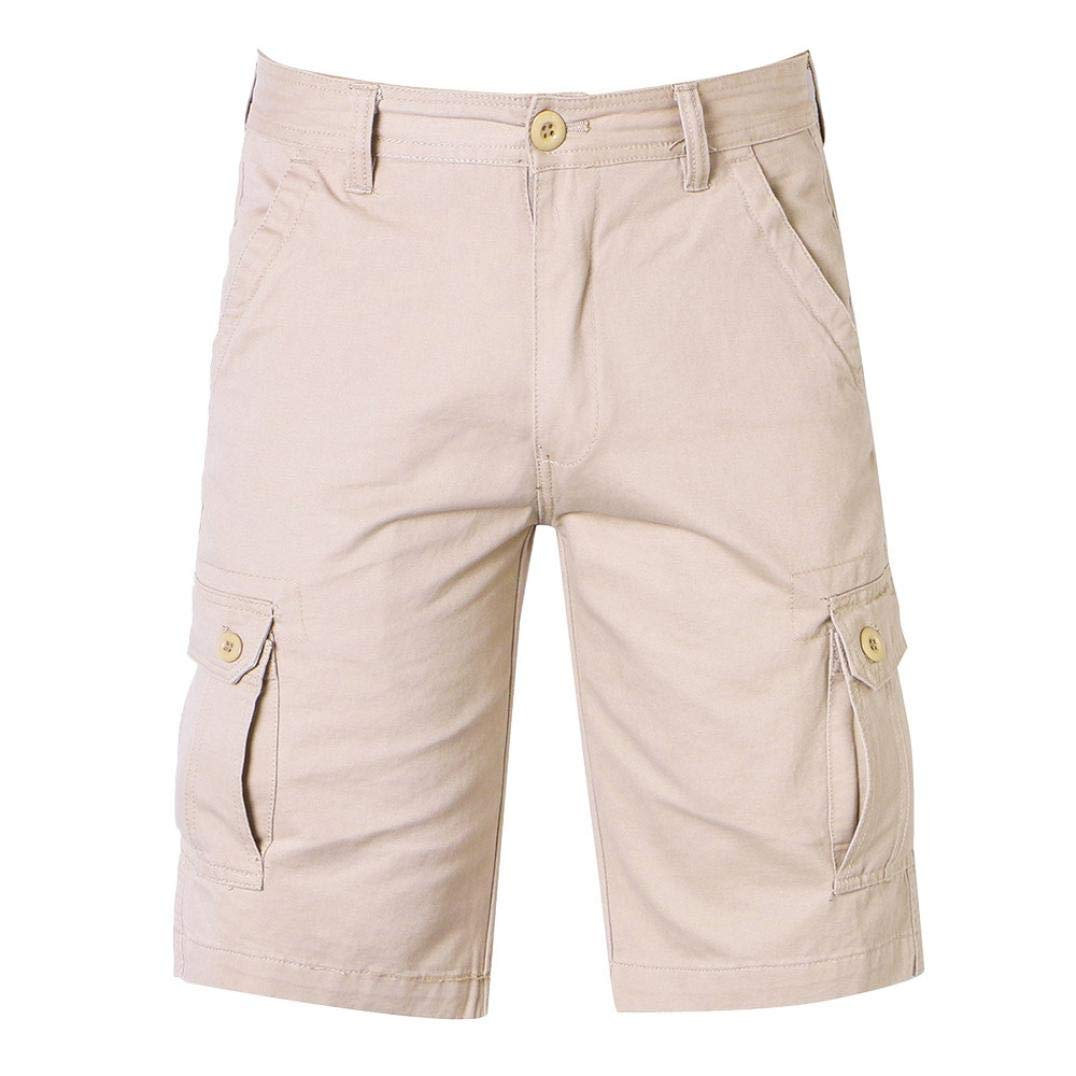 Alimao Clearance Sale Pants Mens Casual Pure Color Outdoors Pocket Beach Work Trouser Cargo Shorts Pant