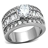 Bienna: 5.2ct Ice on Fire CZ 3 in 1 Stacked Bridal Wedding Ring Set 316 Steel, 3076A sz 9.0