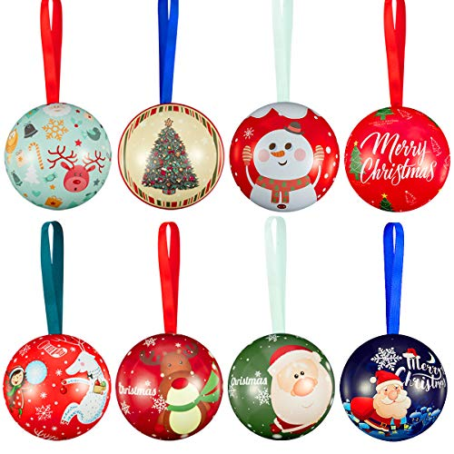 Biubee 8 Pcs Christmas Tinplate Candy Ball Box- Cute and Creative Christmas Tree Candy Iron Balls Pendant Xmas Detachable Candy Box Hanging Ornament for Christmas Holiday Gifts Tree Decoration (Ornaments Gift Box)