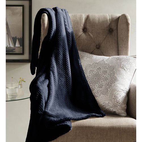 Hot kensie Duck River Textiles Myrcella Textured Throw in Midnight Blue, 50 X 60 Inch, Solid for sale
