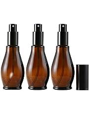 3 x 100 ml leere nachfüllbare bernsteinfarbene Glas-Sprühflaschen für Kosmetikartikel, Parfüm, Aufbewahrung, Reinigung mit feinem Sprühnebel und Staubschutzkappe