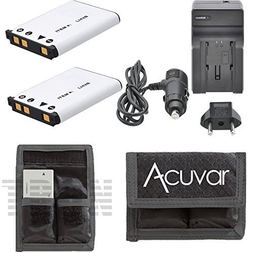 2 LI-42B Batteries for Olympus Camera + Car / Home Charger + Acuvar Battery Pouch for FE-320, FE-340, FE-350, FE-360, FE-3000, FE-3010, FE-4000, FE-4010, FE-4030, FE-5000 Camera and other ()