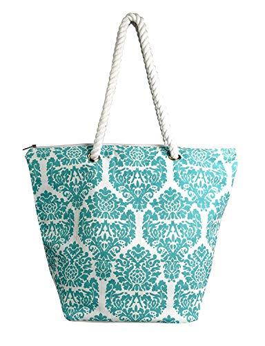 Peach Couture LARGE Nautical Anchor Print Bold Stripe Summer Purse Beach Bag Totes (One Size, Teal) Cotton Screen Print Tote