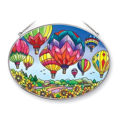 Amia 41253 Up and Away Hot Air Balloons 9 by 6-1/2-Inch Oval Sun Catcher, Large: Home & Kitchen