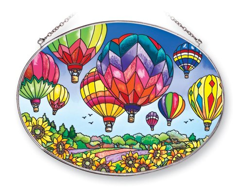 Amia 41253 Up and Away Hot Air Balloons 9 by 6-1/2-Inch Oval Sun Catcher
