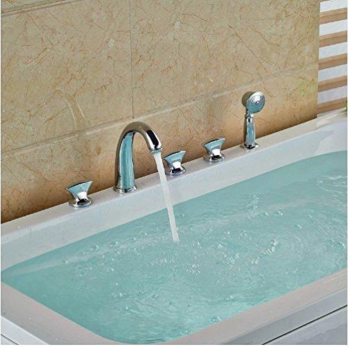 Gowe Bathroom 5pcs Shower Set Brass Chrome Polish Tub Tap Three Handles With Hand Shower Mixer Taps 2