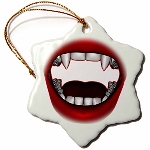 3dRose orn_155605_1 Vampire Mouth Goth Fangs Design Porcelain Snowflake Ornament, 3-Inch