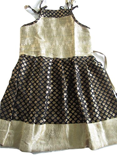 Kween Bee Black and Gold Brocade Pure Silk Frock - Size 18 (2 yrs to 3 yrs)