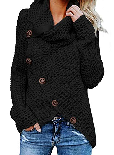 Asvivid Womens Turtleneck Cowl Neck Button Asymmetric Wrap Fall Loose Knit Pullover Sweater Coat Outerwear L Black