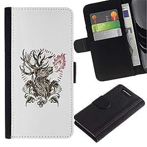 All Phone Most Case / Oferta Especial Cáscara Funda de cuero Monedero Cubierta de proteccion Caso / Wallet Case for Sony Xperia Z1 Compact D5503 // Deer Antlers Axe Manly Fire Forest