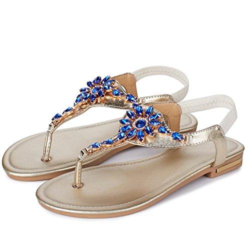 YE Damen Flache Ankle Strap Sandalen Zehentrenner mit Strass und Riemchen Bequem echt Leder Schuhe RWTwts