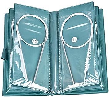 Herramienta de Ganchillo Para Tejer con Aguja Redonda de Acero Inoxidable de 11 Piezas, Aguja Redonda de Acero Inoxidable de 80 cm, Agujas de Diferentes Tamaños de 1,5 mm a 5,0 mm