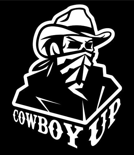 Cowboy Up Vinyl Decal Sticker   Cars Trucks Vans Walls Laptops Cups   White   5.5 X 4.2 Inch   KCD1738 -