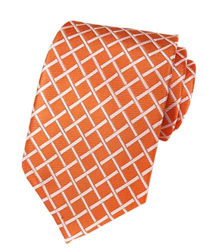 (Mens Narrow Orange Yellow Woven Silk Tie Regular Soft Business Work Boys Petros Plaid Necktie)