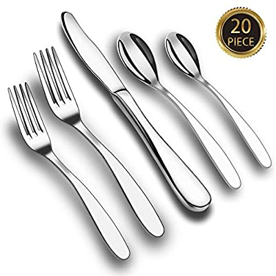IEKA Flatware Set,Stainless Steel Cutlery Set,Dinnerware with Mirror Polishing Multipurpose Use for Home Kitchen or Restaurant(20-Piece)