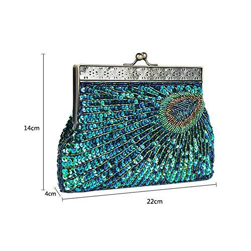 Body Glitter Handbag Womens Clutch Bag Wedding Evening Fashion Party Vintage Biback Peacock Silver Cross Purse Beaded Sequin w81dAqR