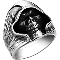 خاتم رجالي من مطبوع عليه صورة مستوحاة من الفن القوطي مقولبة على شكل جمجمة من الستانلس ستيل، خاتم من الفضة باللون الاسود