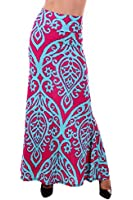 Womens TICOLORED TWO TONE DAMASK PRINTED MAXI SKIRT