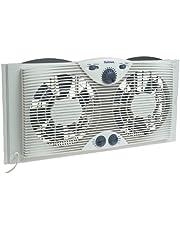 "Holmes Dual 8"" Blade Twin Window Fan with Manual Controls, 3 Speed Settings, White"
