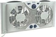 "HOLMES Dual 8"" Blade Twin Window Fan with Manual Controls, 3 Speed Settings,"
