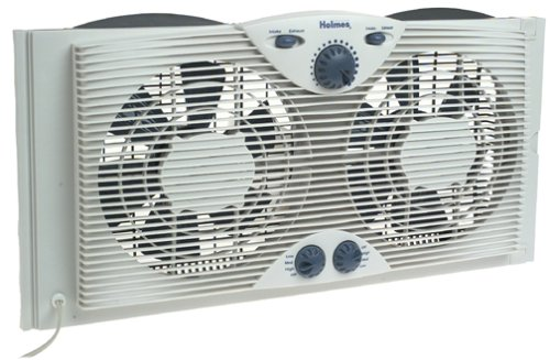 "Holmes Dual 8"" Blade Twin Window Fan with Manual Controls"