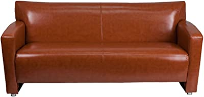 Offex OFX 436840 FF Home Office Contemporary Design Cognac Leather Sofa
