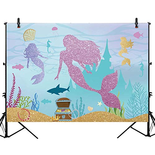 Allenjoy 7x5ft Under The Sea Little Mermaid Backdrop Curtain for Party Banner Purple Glitter Baby Children Kid Girl Birthday Party Baby Shower Decor Photography Background Photo Booth