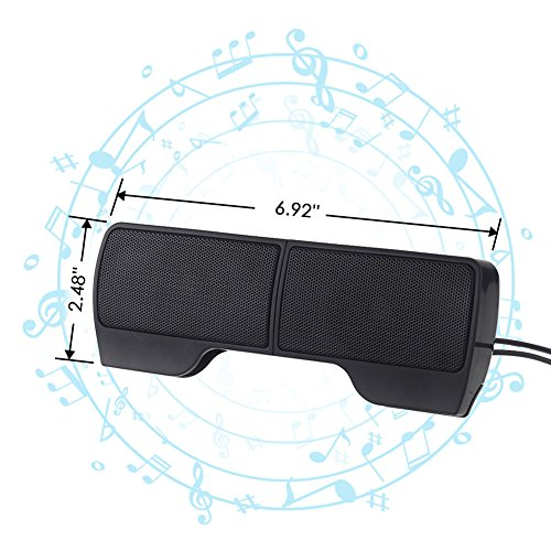 ELENKER Portable Clip-On USB Powered Speaker Stereo Multimedia Speaker, Mini USB Speakers for Laptop Notebook Computer PC Phone Tablets by ELENKER (Image #5)
