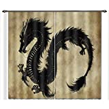 LB Teen Kids Animal Decor Room Darkening Thermal Insulated Blackout Curtains,Flying Dragon 3D Effect Print Window Curtains Drapes for Living Room Bedroom 2 Panels Set,28 by 65 inch Length
