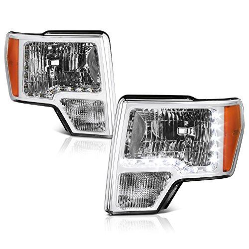VIPMOTOZ Chrome Housing LED Strip DRL OE-Style Headlight Headlamp Assembly For 2009-2014 Ford F-150 Pickup Truck Halogen Model, Driver & Passenger Side