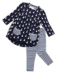 2PCS Toddler Kids Baby Girls Outfits Long Sleeve Dress Tops +Pants Clothes Set