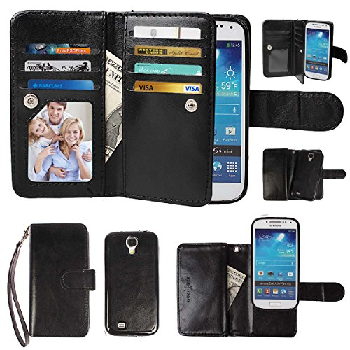 xhorizon Premium PU Leather Magnetic Detachable 7 Card Slots Wallet Flip Case Cover with Wrist Strap for Samsung Galaxy S4 Mini -
