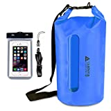 Leader Accessories Waterproof PVC Dry Bag with Clear Window and Phone Case for Boating Camping Kayaking Fishing Swimming Floating (Blue, 30L)