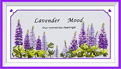 Ribbon embroidery Kit Handmade flower design for beginner DIY Wall Decor lavender(No frame) (A)
